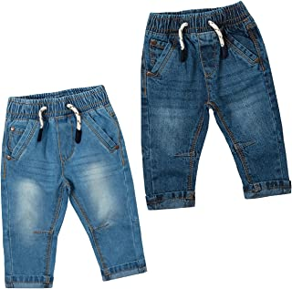 Baby Town Baby Boys 100% Cotton Demin Jeans with Pockets and Elasticated Waistband