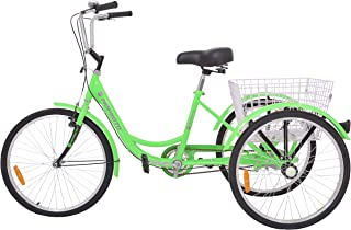 MOPHOTO Adult Tricycles 1/7 Speed Three Wheel Bike Cruise Trike, Adult Tricycle 24/26 Inch for Men/Women/Elderly/Young