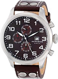 Akribos XXIV Men's AK664BR Essential Swiss Quartz Multifunction Stainless Steel Brown Leather Strap Watch