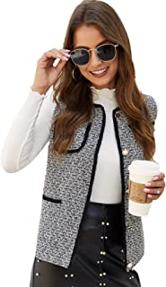 Women's Elegant Tweed Vest Outerwear Single Breasted Coat