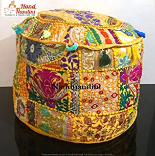 Puf otomano de patchwork vintage indio, puf living, taburete, puf redondo, almohada de piso, decoración casera india tradicional Cojín decorativo de navidad algodón otomano cubierta