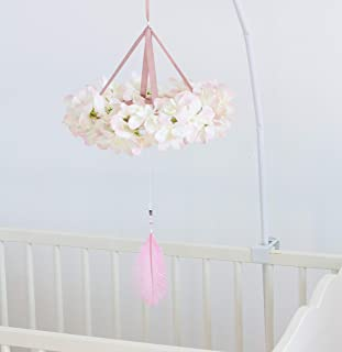 Flower mobile Baby Floral Crib Mobile Dreamcatcher Chandelier Ivory Cream Boho Girl Mobile with Pink Feather Baby Girl Shower Gift Diam 10 inches