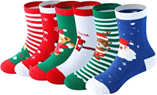 6 Pairs Baby Boy Girl Toddler Christmas Holiday Cotton Funny Crew Socks for Gift