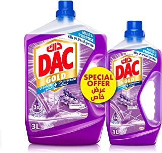 DAC Gold Disinfectant Multi-Purpose Cleaner - Lavender (3 Litres + 1 Litre), for 99.9% Germs and Bacteria Removal, with Lo...