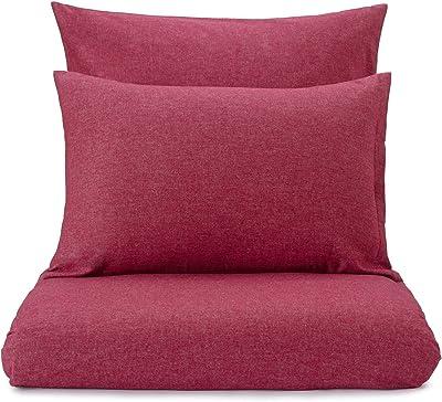 URBANARA Parure de lit en Flanelle Vilar–100% Pur Coton Bio, avec Effet Melange, Parure de lit, Parure de lit en Flanelle Parure de lit en Flanelle, Coton, Rouge Rubis, 80 x 40 cm