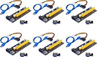 Xsentuals PCI-E Mining Card, Riser Card, PCIe (PCI Express) 16x to 1x Riser Adapter, USB 3.0 Extension Cable 60cm, 6 pin P...