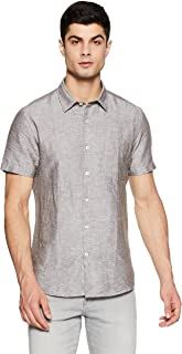 DJ&C By fbb Men's Solid Slim Fit Casual Shirt