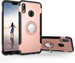 Orzero TPU + PC Hybrid Dual Layer Case Compatible for Huawei P20 Lite Full Body Heavy Duty Protection 360 Rotating Metal R...