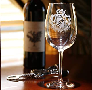 Personalized Family Crest Wine Glass, Engraved Coat of Arms Wine Glasses - Set of 2 (crest)
