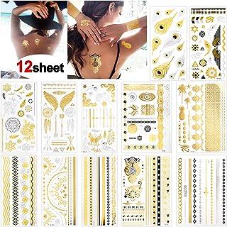 Konsait Tatuajes temporales para adultos Mujer Niños (12 hojas), impermeable Metálico Oro Flash Tatuaje Temporal Adhesivos, Flores Flechas Plumas Pulseras Muñequera