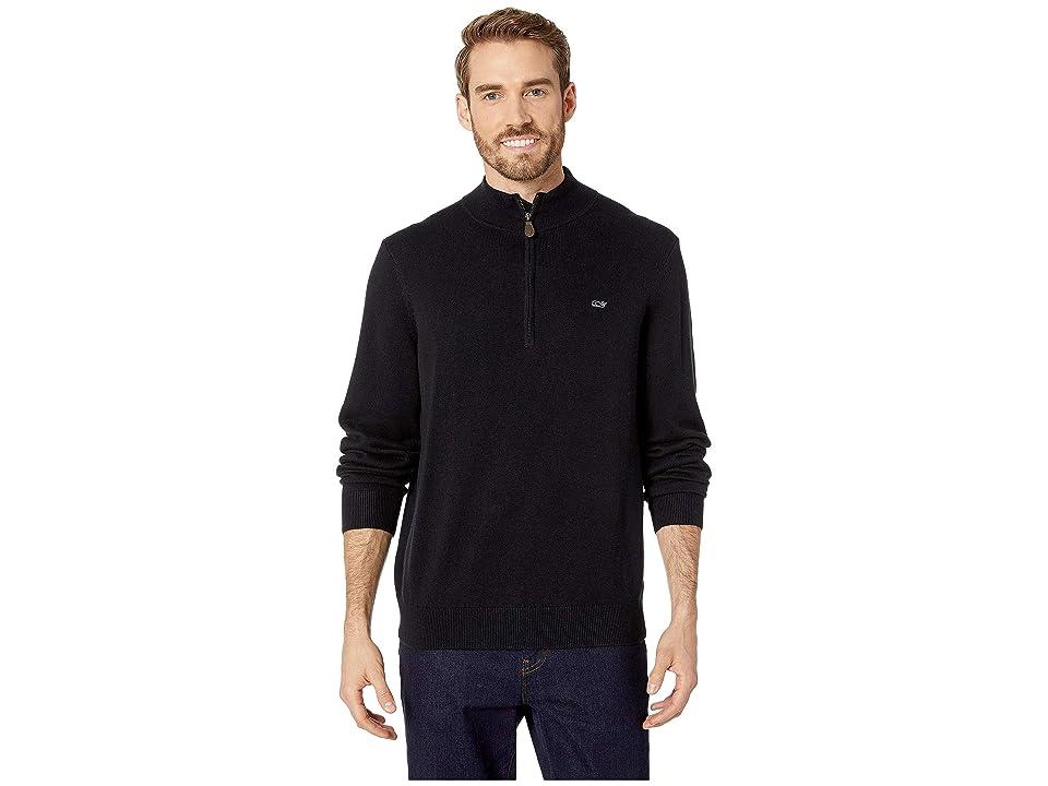 Vineyard Vines Palm Beach 1/4 Zip Sweater (Jet Black) Men