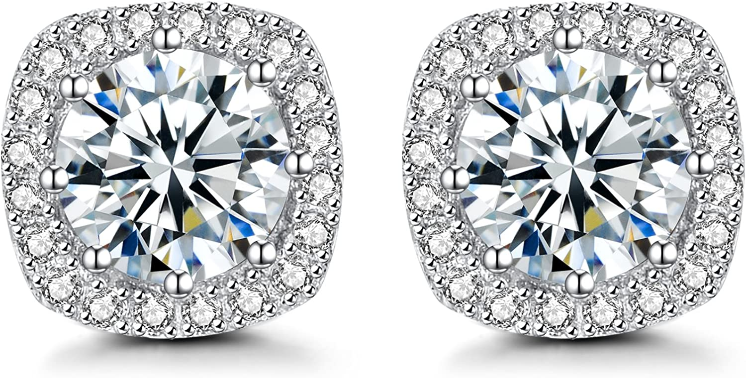 Earring White Gold Plated Studs 925 Cheap mail order shopping depot Cubic Z Sterling Halo Silver