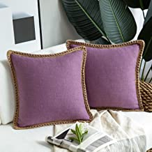 Phantoscope Pack of 2 Farmhouse Decorative Throw Pillow Covers Burlap Linen Trimmed Tailored Edges Purple 26 x 26 inches, ...