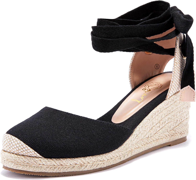 Coutgo Womens Free Shipping New Espadrille [Alternative dealer] Platform Wedge Ankle Buc Sandals Straps