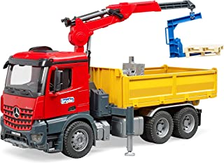 Bruder Mb Arocs Construction Truck With Crane & 2 Pallets, Multi-Colour, 3651