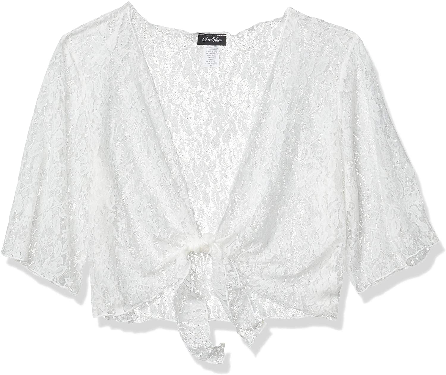 Star Vixen Women's Plus-Size 3/4 Sleeve Stretch Lace Tiefront Shrug Sweater