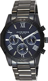 Akribos Multifunction Heavy Bracelet Men's Watch – Stylish Stainless Steel Bracelet Wristwatch - Radiant Dial 3 Subdials Quartz Multi-Function Movement - AK1054
