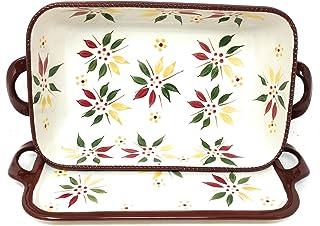 """Temp-tations Baker 2.5 Qt 11""""x7"""" Casserole Dish w/Lid-It (Tray) (Old World Fallfetti) EW-H"""