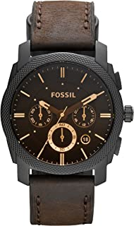 Fossil Machine Quartz Leather Chronograph Watch, Color: Black, Brown, 22 (Model: FS4656IE)