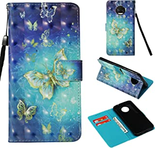 For Motorola Moto G6 Plus Case 2018, Moto G Plus 6th Case, Moto G6+ case,PU Leather Wallet Flip Full Body Protective Phone Cover With Credit Card Slot Wrist Strap Magnetic Closure Stand Gold Butterfly