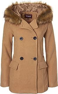 Women's Winter Wool Look Double Breasted Pea Coat Jacket Fur Trim Hood