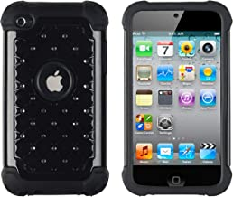 Crystal Diamond Bling Hybrid Armor TUFF Case for Apple iPod Touch 4, 4G (4th Generation) - Includes DandyCase Keychain Screen Cleaner [Retail Packaging by DandyCase] (Black) (Renewed)