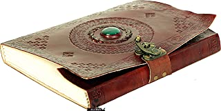 ALCRAFT Real Leather Green Stone Brown Embossed Handmade Diary with Metal Lock -Size of (H)10(L) 7 Brown