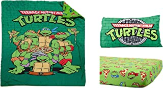 Teenage Mutant Ninja Turtles Brand New Green Toddler Multicolored Microfiber Comforter Reversible Classic TMNT Designed Standard Size Fitted Sheet 3 Pcs Bedding Set