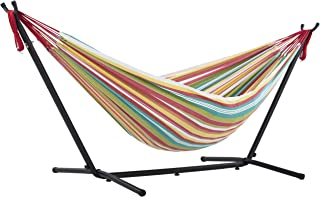 Vivere Double Cotton Hammock with Space-Saving Steel Stand, Salsa