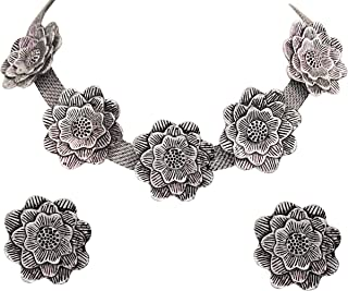 Total Fashion Handcrafted Oxidised Silver Afghani Jewellery Flower Choker Necklace Set for Women & Girls