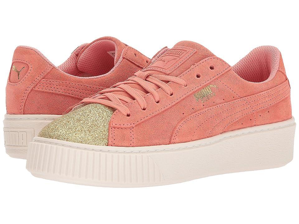 Puma Kids Suede Platform Glam (Big Kid) (PUMA Team Gold/Shell Pink) Girls Shoes
