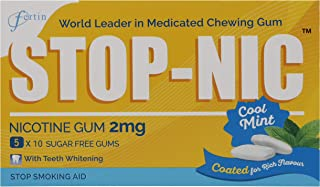 STOP-NIC Nicotine Gum 2mg, Cool Mint, Sugar-free, Stop Smoking Aid, (Pack of 5x10 Gums)