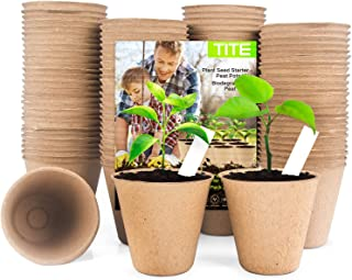 108 Pack Plant Seed Starter Peat Pots Kit Biodegradable Seedling Peat Pots 100% Eco-Friendly Organic Garden Seed Trays wit...