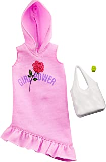 Barbie Clothes: Pink Hoodie Dress, Plus 2 Accessories Dolls, Gift for 3 to 7 Year Olds, GHW77