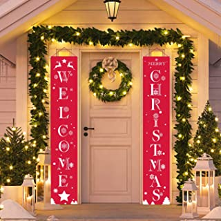 Christmas Outdoor Decoration Welcome Christmas Banner Hanging Decoration Snow Star Elk Christmas Tree for Christmas Party Home Party