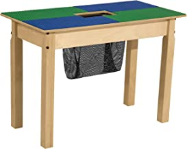 """Wood Designs Time-2-Play Lego Compatible Table with Storage For Kids/Toddlers, Blue & Green, 20.5"""" Legs"""