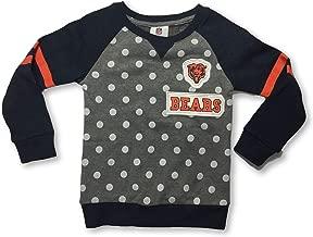 NFL Team Apparel Chicago Bears Girls Polka Dot Varsity Stripe Pullover Sweatshirt Medium 5/6