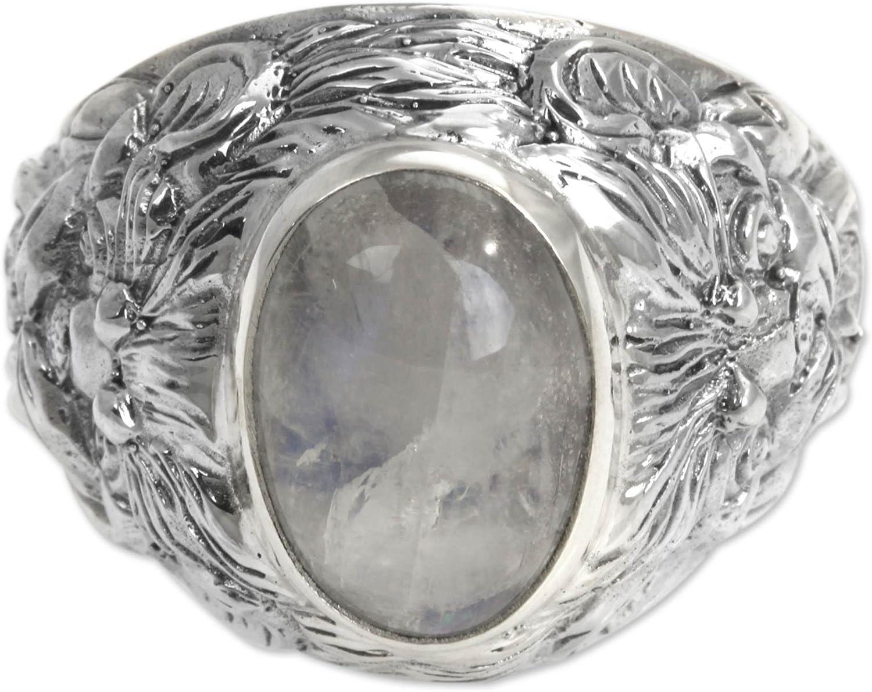 NOVICA New Columbus Mall product Rainbow Moonstone .925 Sterling Silver Men's C Ring 'Lion
