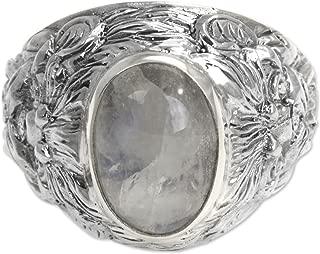 Rainbow Moonstone .925 Sterling Silver Men's Ring 'Lion Charisma'