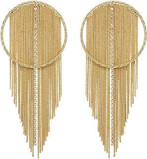 """/""""perles/"""" Magnifique élégant fantaisie couleur or Long Dangle Drop Chandelier Boucles d/'oreilles"""