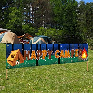 Camping Party Decorations Happy Camper Banner, Camping Theme Birthday Party Supplies for Boy Girl, Camp Adventure Baby Shower Indoor Outdoor Party Decor