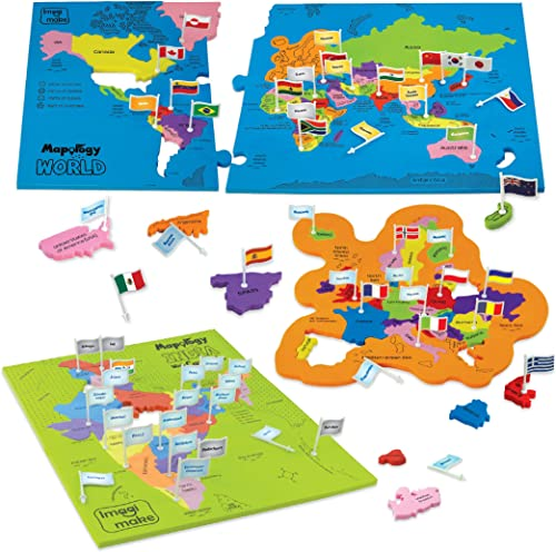 Imagimake India and World Map with Capitals and Countries Flags Educational Toys Mapology Combo for Boys and Girls (M...