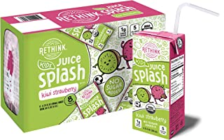 Rethink Kids Juice Splash Kiwi Strawberry Low Sugar Kids Juice Drink -- Only 5 Calories and 1g of Sugar, Certified Organic, BPA Free, Recyclable (Pack of 32)
