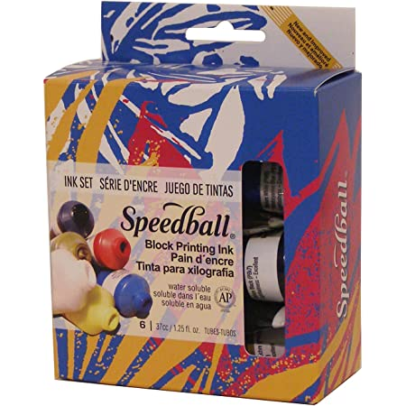 Speedball Water-Soluble Block Printing Ink Starter Set, 6 Bold Colors with Satiny Finish, 1.25-Ounce Tubes