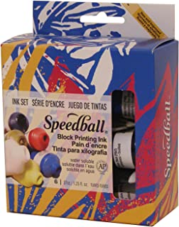 Speedball Water-Soluble Block Printing Ink Starter Set – 6 Bold Colors With Satiny Finish - 1.25 FL OZ Tubes - 3470
