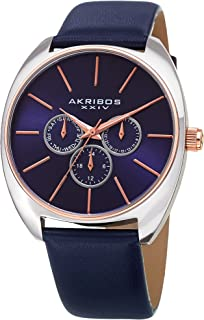 Akribos Multifunction Chronograph Watch- Men's Casual Designer Wristwatch On Genuine Leather Watch - AK998