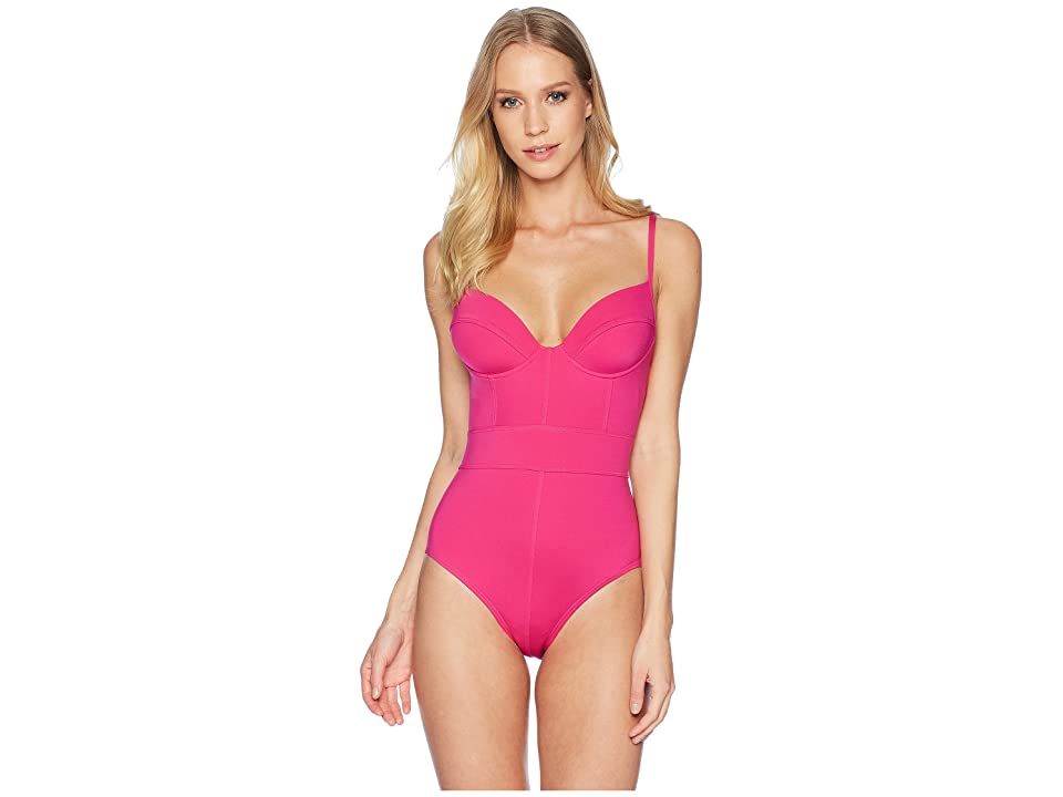 Proenza Schouler Solids Underwire Lingerie One-Piece w/ Adjustable Straps (Electric Pink) Women