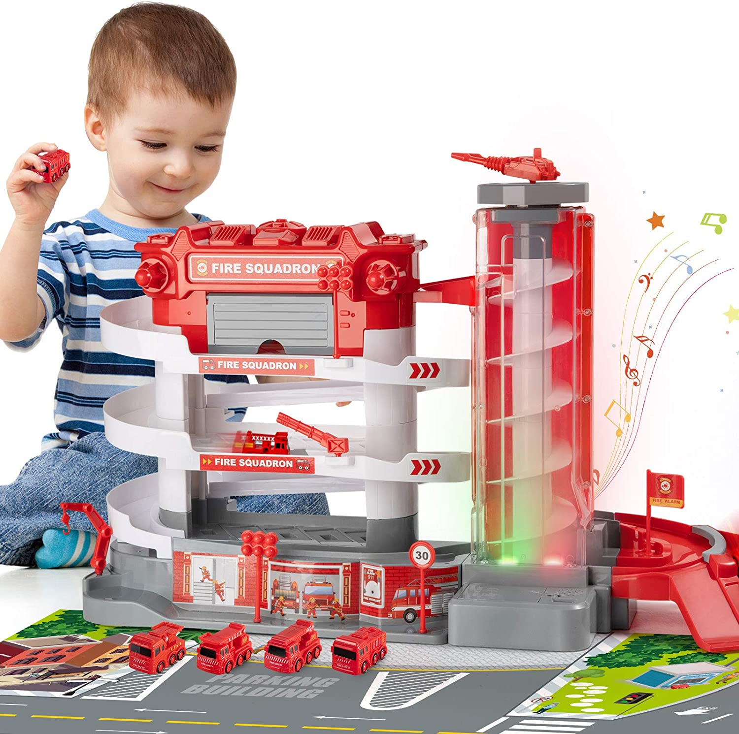 TEMI 返品不可 Fire Station Toy Set with Electric Lift 4 Automatic 5%OFF Free
