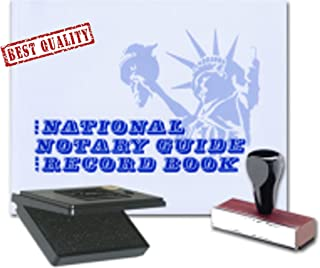 3 Product Notary Supplies Value Package | National Notary Guide Record Book, Traditional Rubber Hand Stamp; Pad Included | New Jersey