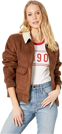 Faux Suede Two-Pocket Aviator Bomber with Laydown Collar